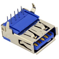 Tensility 54-00007, Connector, USB A 3.0 Jack, PCB mount, 90°