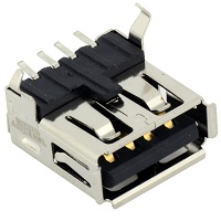 Tensility 54-00003, Connector, USB A jack, SMT mount, 90°