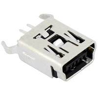 Tensility 54-00025, Connector, USB mini B Jack, PCB mount, 180°